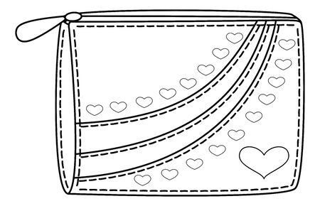 Purse for money with valentine hearts, contours. Vector Vector