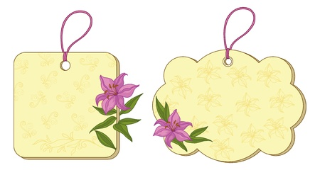 Yellow labels tags with floral and contours lily. Vector Vector