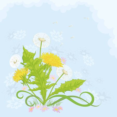 Dandelions and symbolical summer flowers on background of blue sky and white clouds. Vector Stock Vector - 12233617