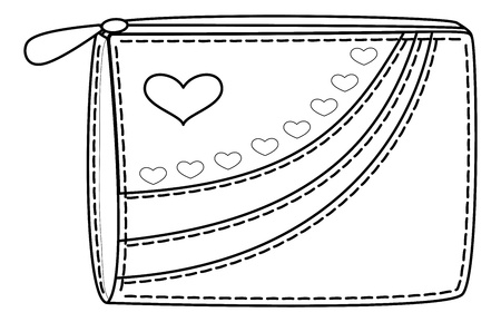 Purse for money with valentine hearts, contours. Vector Stock Vector - 12233615