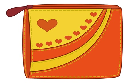 embroider: Female orange and yellow purse for money with valentine hearts. Vector