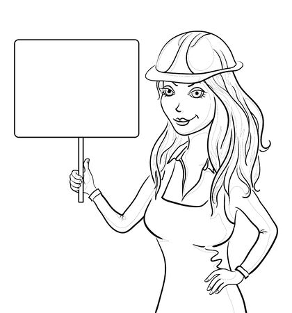 outline women: Beautiful girl worker in a helmet holding a sign for your text, contours. Vector