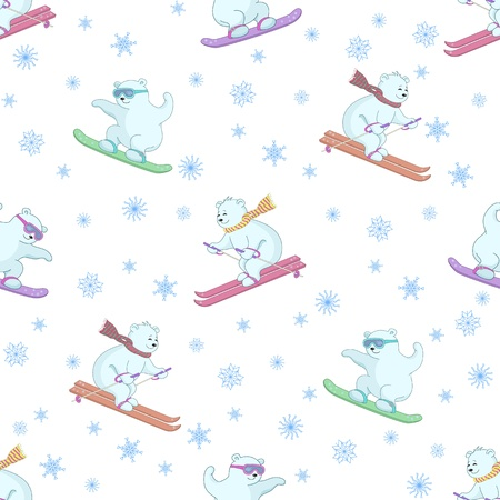 Vector seamless background, polar teddy bears ski on a snowboard and skis Vector