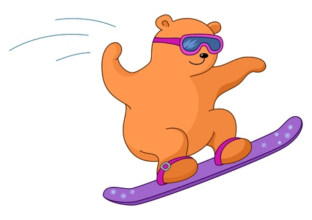 Teddy-bear sportsman goes for a drive on a snowboard. Winter picture Illustration