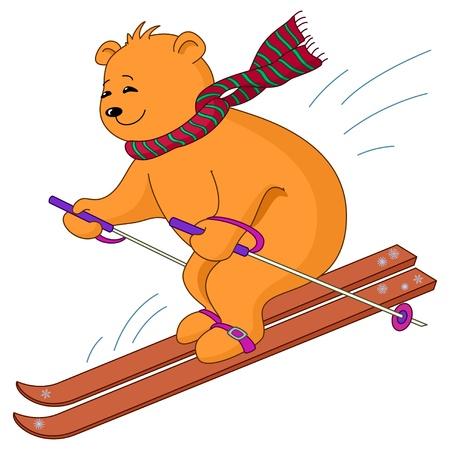 Teddy-beer gaat voor een station op de berg skiën, geïsoleerd