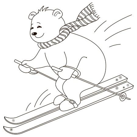 Teddy-Bär geht für eine Fahrt auf dem Berg Skifahren, Konturen Standard-Bild - 12233598