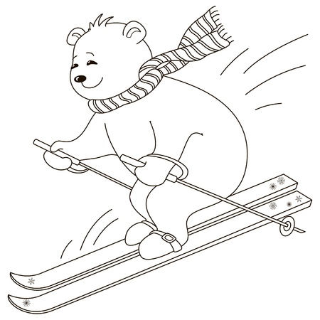Teddy-bear goes for a drive on the mountain skiing, contours Illustration