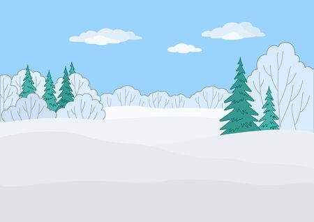 Landscape: winter forest, coniferous and deciduous trees under blue sky Stock Vector - 12233597