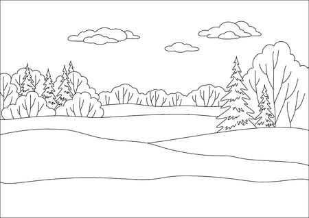 deciduous: Landscape: winter forest, coniferous and deciduous trees under blue sky, contours.. Illustration