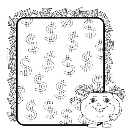 cash back: Smiling purse shows the thumb up against the background of the poster with dollars, contours. Vector