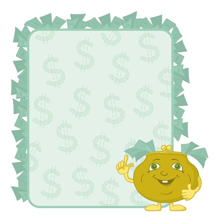 cash back: Smiling purse shows the thumb up against the background of the poster with dollars. Vector Illustration