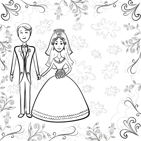 marriage cartoon: Cartoon, black contours: wedding, the bride and groom on a floral background. Vector