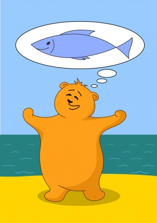 Teddy bear fisherman on seacost dreaming about big fish Vector