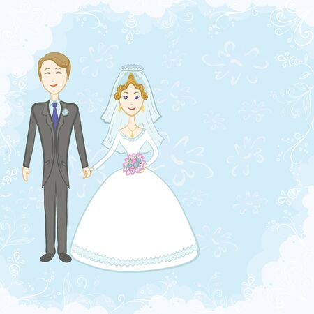 Cartoon, the bride and groom on a blue background with white floral pattern. Vector Vector