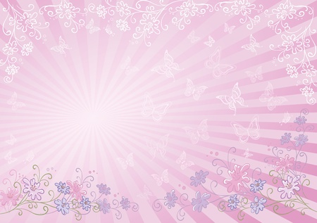Abstract pink background with a symbolical flowers, butterflies and rays. Vector Vector