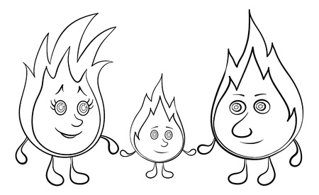 lit candles: Cartoon, contour, family of lights burning: mum, father and baby. Vector