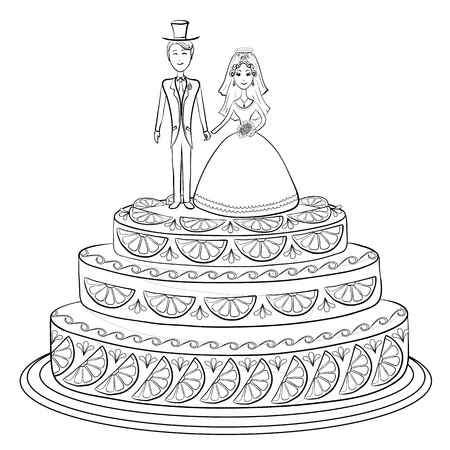 Holiday wedding pie with bride and groom figurines, black contour on white background. Vector Vector