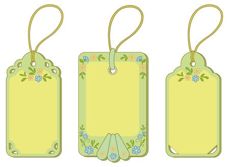 Set green and yellow labels tags with floral pattern and ropes. Vector Vector