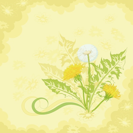 Dandelions and symbolical summer flowers on a brown and yellow background. Vector Stock Vector - 12233560