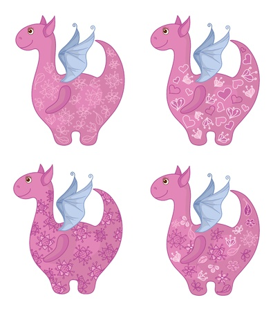 Set Dragons with valentine hearts and floral patterns. Vector Vector