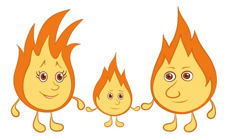 lit candles: Cartoon, family of lights burning: mum, father and baby. Vector