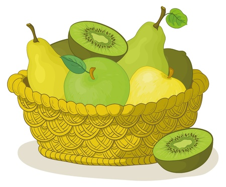 Still life, wattled basket with sweet fruits: apples, pears, kiwi. Vector