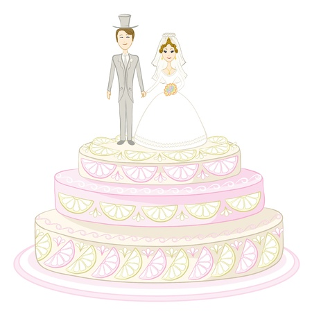 torte: Holiday wedding pie with bride and groom figurines. Vector