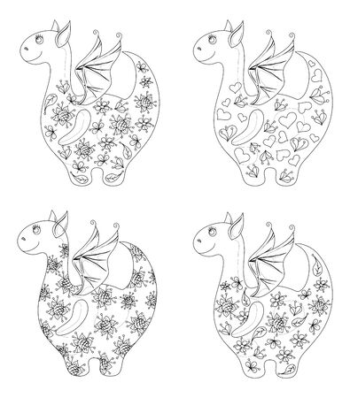 Set Dragons with valentine hearts and floral patterns, contours. Vector Vector