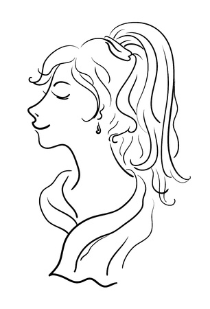 Beautiful young girl, sketch, monochrome black contours on white background  Vector Vector