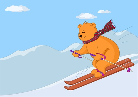 downhill skiing: Teddy-bear slides on skis from hill against a mountain landscape Illustration