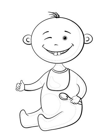 Cartoon, fröhlich lächelnd zwinkerte Konturen Baby mit einem Löffel