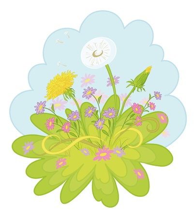 Dandelions and symbolical summer flowers on background of blue sky  Vector Stock Vector - 12493088