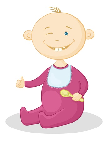 winking: Cartoon, cheerful smiling winking baby with a spoon  Vector