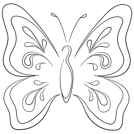 Symbolical butterfly with opened wings, monochrome contours photo