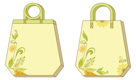Hexahedron yellow and green labels tags with floral lily  Vector Vector