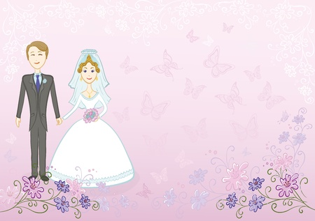 Cartoon, wedding, the bride and groom on a pink background with a symbolical flowers and butterflies  Vector