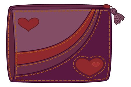 Violet and orange purse for money with valentine hearts  Vector Vector