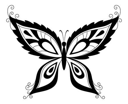 Abstract butterfly, black contour silhouettes on white background  Vector Vector