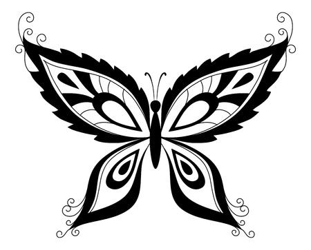 R�sum� papillon, silhouettes noires sur contour Vecteur fond blanc