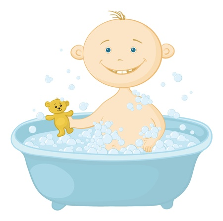 Cartoon, cheerful smiling child sitting in a bath with soap and holding a teddy bear  Vector Vector