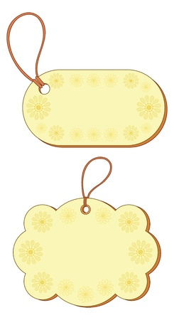 Yellow labels tags, oval and cloud, with floral pattern and ropes  Vector Stock Vector - 12629914