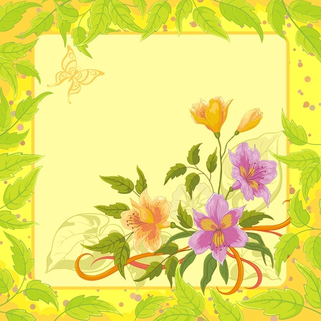 Alstroemeria flowers on yellow background with green leaves and butterfly  Vector Vector