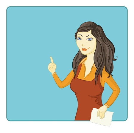 Blue-eyed brunette girl in red and orange dress points at the background  Vector Vector