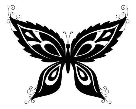 Abstract butterfly, black contour silhouettes on white background  Vector Stock Vector - 12629921