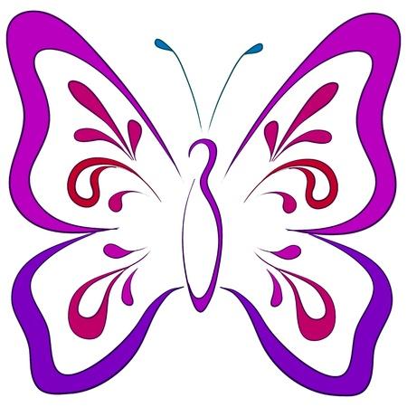 papillon dessin: Papillon avec des ailes ouvertes Symbolique, monochrome pictogramme