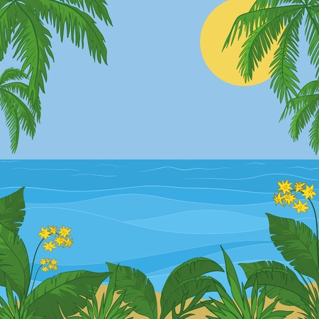 sea flowers: view of sea, sun and sky, frame of a tropical foliage and flowers