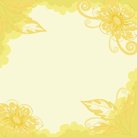 Floral background, dahlia yellow and green flowers and leaves on white  Vector Illustration