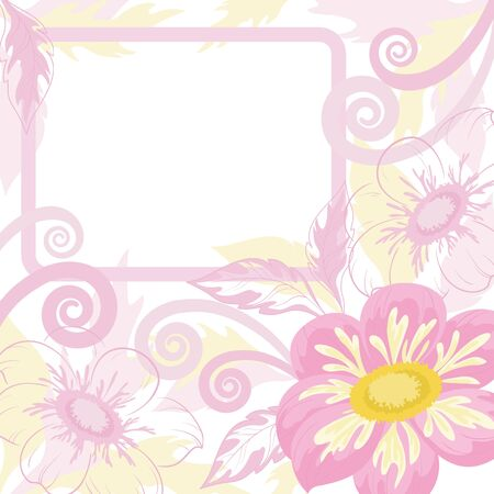 Pink background with white frame and flowers dahlia  Vector Vector