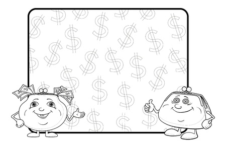 two dollar bill: Smiling purses shows the thumb up against the background of the poster with dollars, contour  Vector
