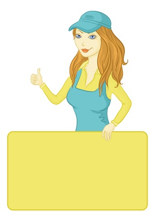 Girl in a blue dress and a cap holding a poster for your text and shows the thumb  Vector Vector